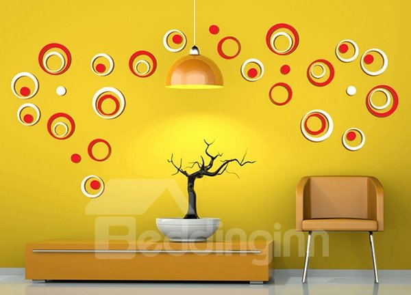 Wall Decor 3d creative diy decorations polka ring background 3d wall sticker