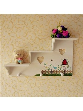 Beautiful Pastoral Ladder-Shaped Versatile Wall Shelf with Hook