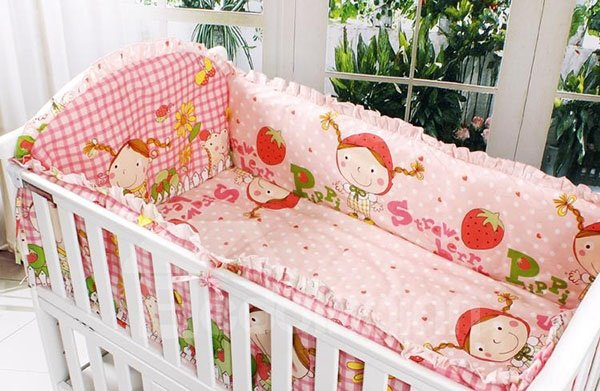 Lovely Girl Pattern Pink 10-Piece Cotton Crib Bedding Set