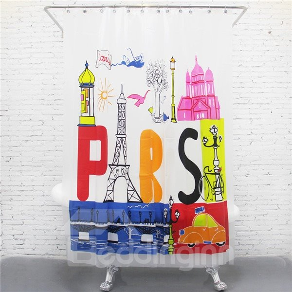 Unique Paris Travel Print EVA Shower Curtain
