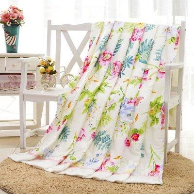 Fancy Refreshing Flowers Design Bamboo Fiber Blanket
