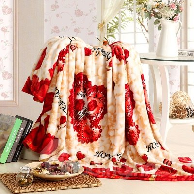 Warm Comfy Flower Print Coral Fleece Blanket