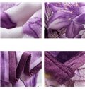 Graceful Noble Purple Lily Print Coral Fleece Blanket
