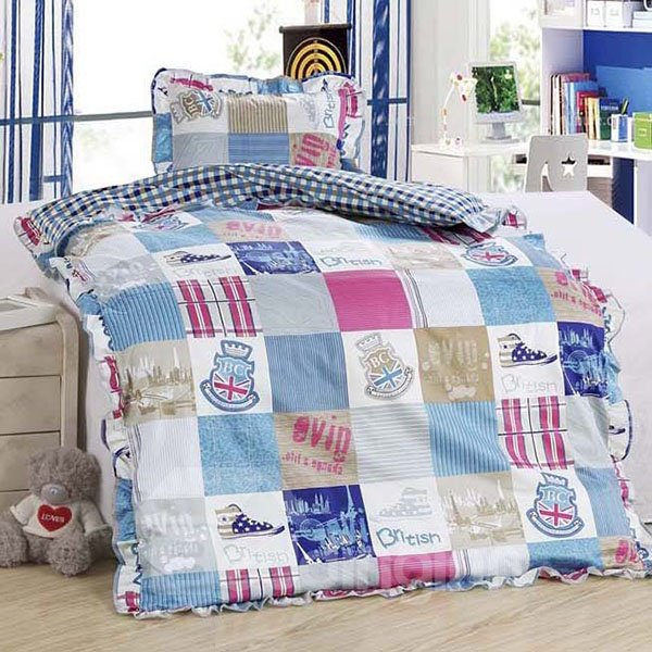 Grid Rock Style Thick 100% Cotton Baby Quilt