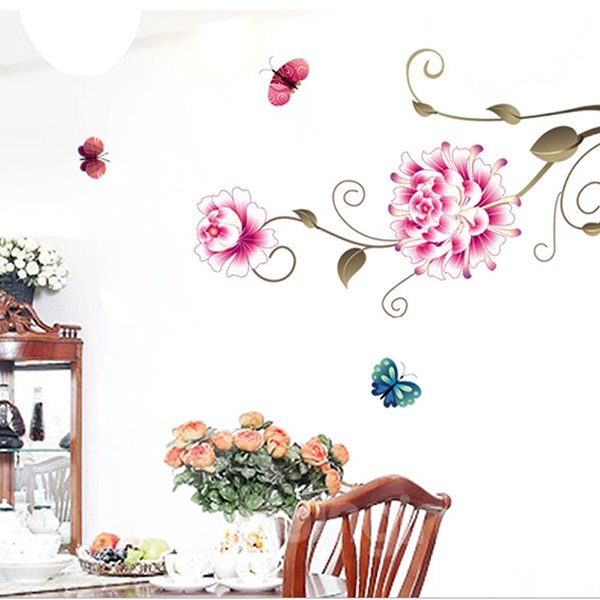 Gorgeous Peony Flower and Butterfly Removable Wall Sticker