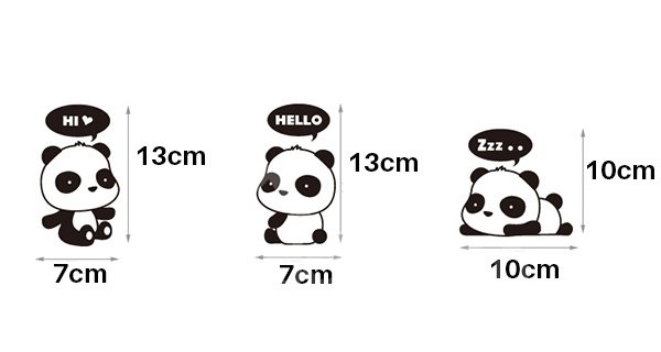 Super Cute Little Pandas 1-Set Switch Lights Removable Wall Sticker