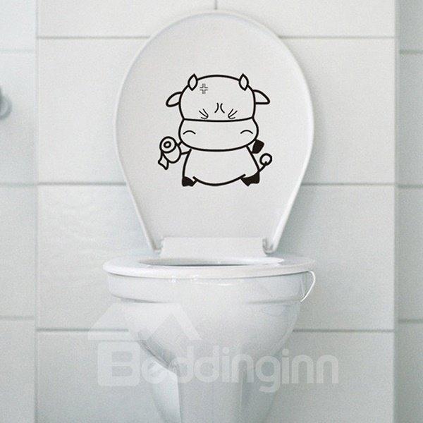 Super Cute Little Cow Water-Proof Bathroom Wall Sticker