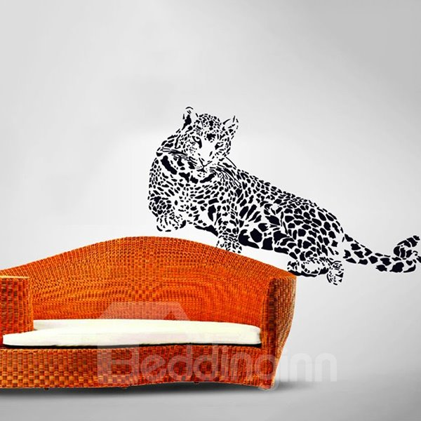 Black Vivid Majestic Crouching Leopard Pattern Removable Wall Sticker