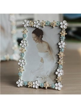 Beautiful Metal Colorful Flower Frame 6-inch Desktop Photo Frame
