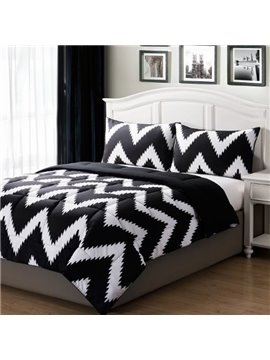 Modern Fashion Black White Stripe Style Bed in a Bag