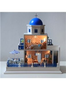 Fantastic Santorini Scenery DIY Musical House With Sound Control Light