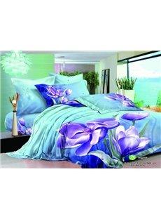 Graceful Purple Flower Print 2-Piece Pillow Cases