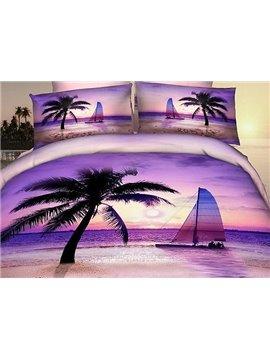 Romantic Purple Beach Scene Print Fitted Sheet