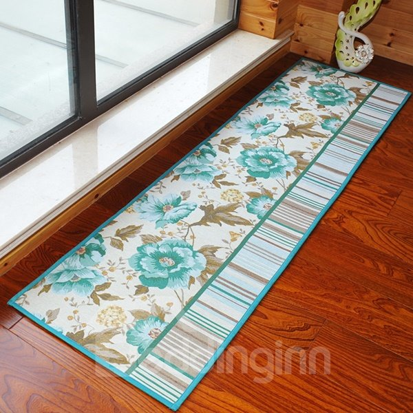 Gorgeous 2-Color Flower Pattern Anti-Slipping Water-Absorbing Area Rugs