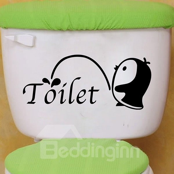 Cute Penguin and Letters Bathroom Removable Wall Sticker