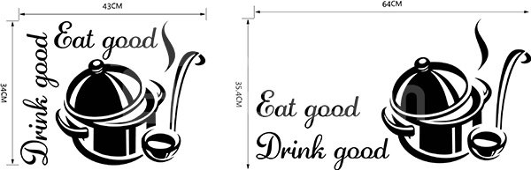Words and Quotes Kitchen Eat Good Drink Good Removable Wall Sticker
