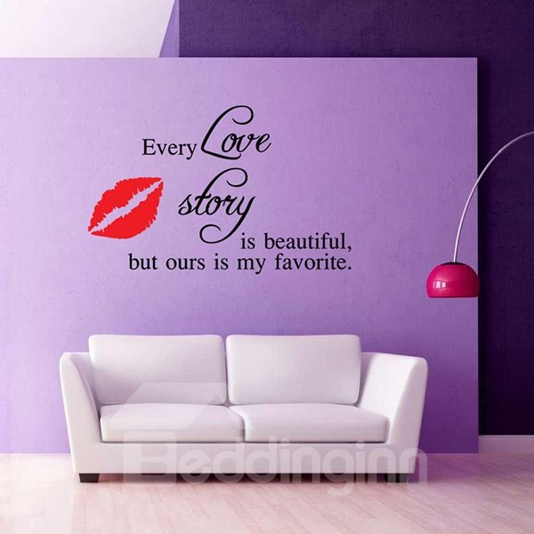 Romantic Words and Quotes Love Story Removable Wall Sticker