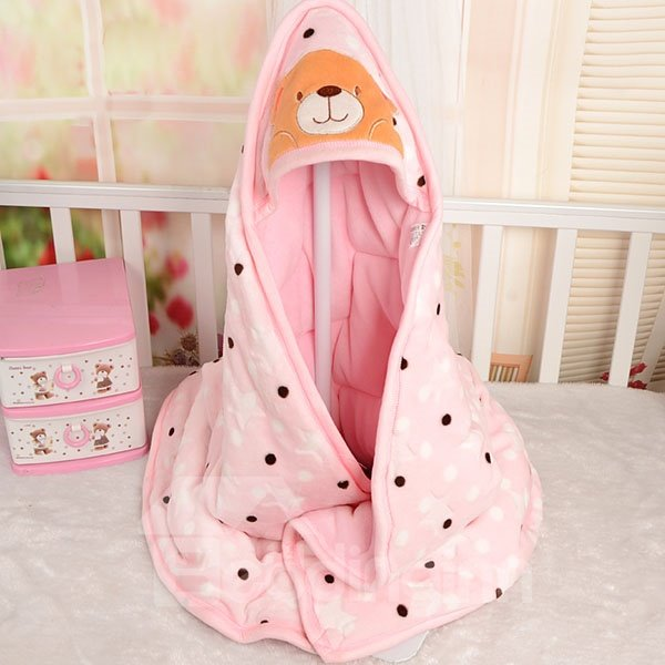 Polka Dot and Lovely Bear Warm Flannel Baby Blanket
