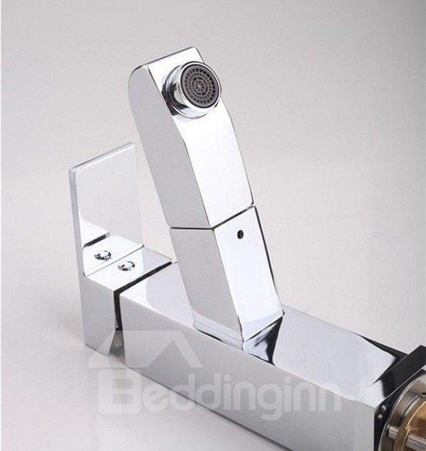 Versatile Retractable Brass Hot and Cold Water Single-Handle Bathroom Sink Faucet