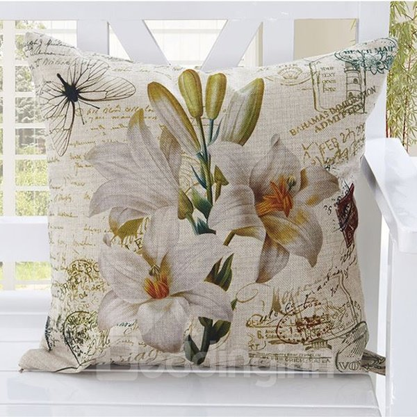 American Country Style Lily Print Blends Throw Pillow