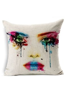 Chic Face Colored Drawing Print Throw Pillow