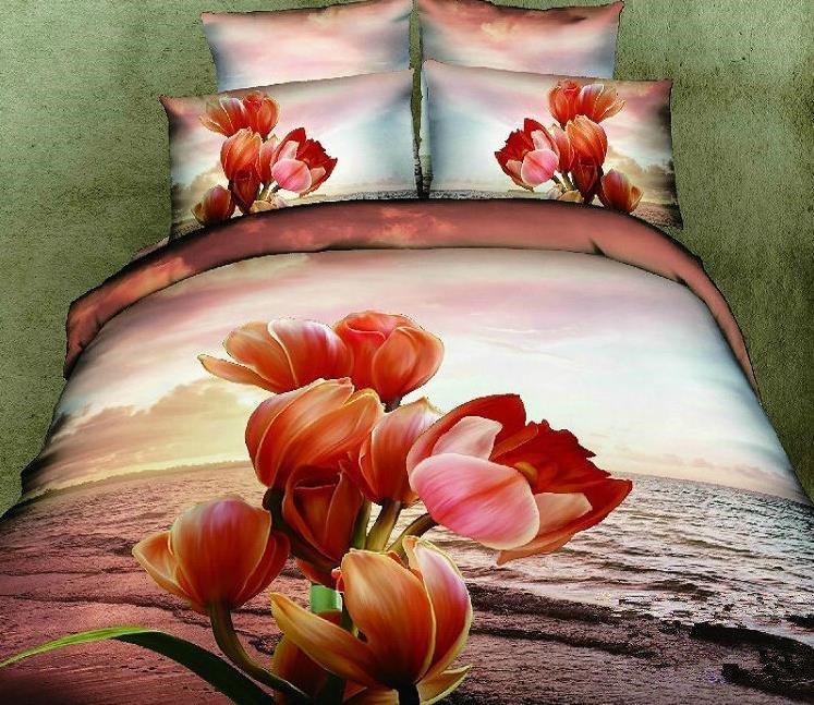 Gorgeous Sunset Flower Print Cotton Bed Skirt