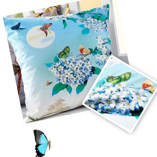 Refreshing Moon Butterflies & Flowers Printing Throw Pillow