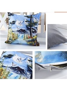 Vivid Snow Mountain 3D Digital Printing Throw Pillow