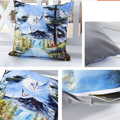 Vivid Snow Mountain 3D Digital Printing Throw Pillow