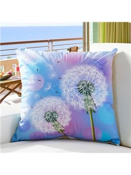 Fluffy Dreamlike Dandelion Digital Print Throw Pillow