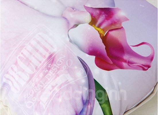 Vivid 3D Flower Digital Printing Lilac Throw Pillow