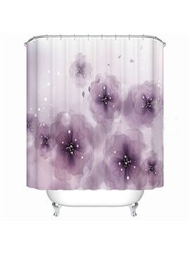 Magnificent Purple Flower Design Bathroom Shower Curtain