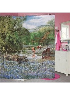 Charming Country Scenery Vivid 3D Shower Curtain