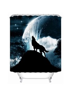 Creative Wolf Whistling at Moon Printing 3D Shower Curtain