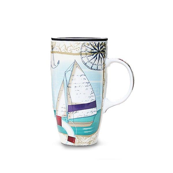 Wonderful Color Painting Sailing Boat Ceramics Coffee Mug