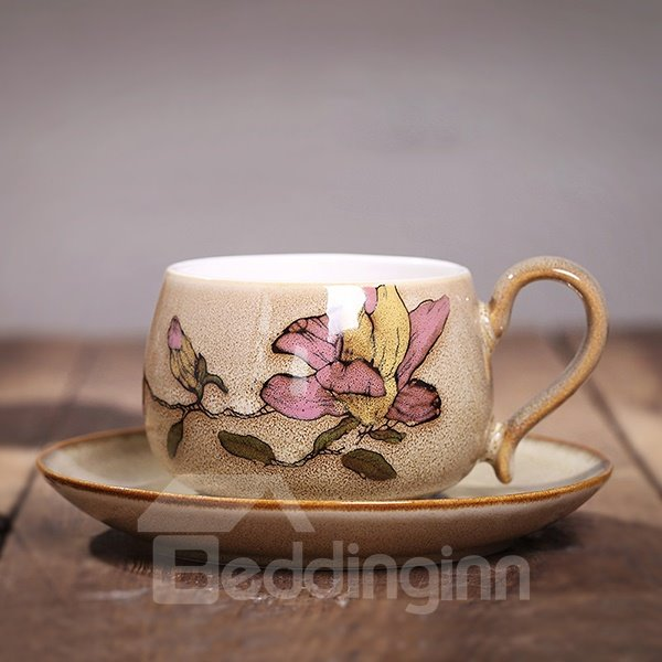 Lovely Hand-Painted Pink Flowers Ceramics Coffee Cup Sets