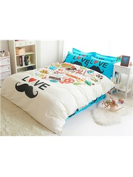 Lovely Mustache Fashionable Kids Cotton Duvet Cover Sets