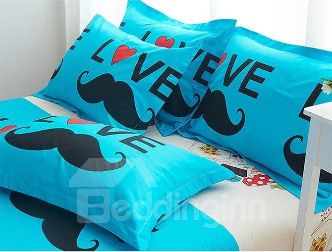 Lovely Mustache Fashionable Kids Cotton Duvet Cover Sets