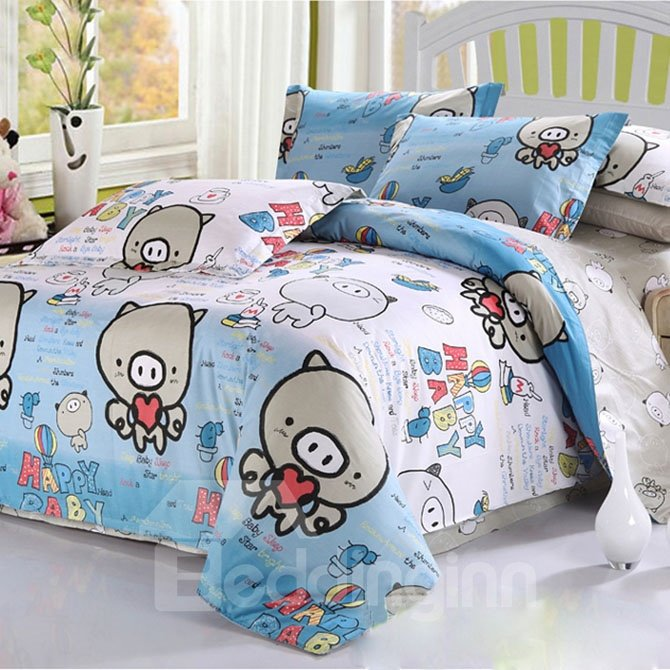 Lively Pigs Pattern 3-Piece Cotton Duvet Cover Set