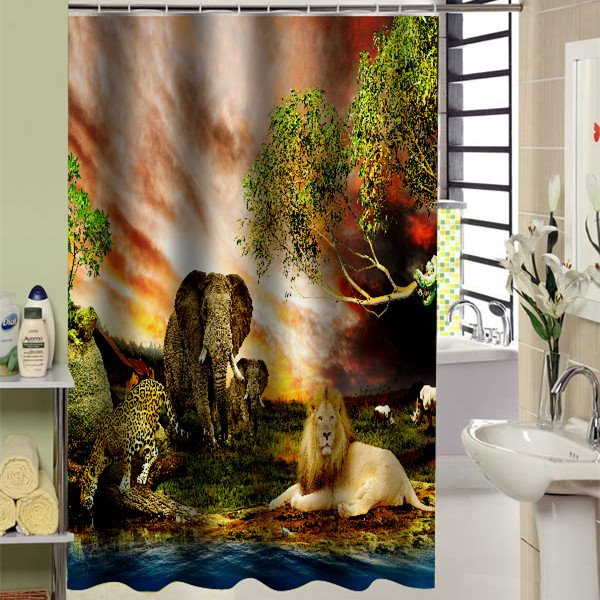 Wonderful The Land of Animals Kingdom Printed 3D Shower Curtain