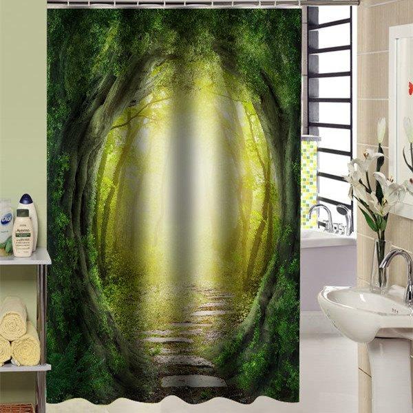 Wonderful 70 Attractive Llusional Woodland Path 3D Shower Curtain