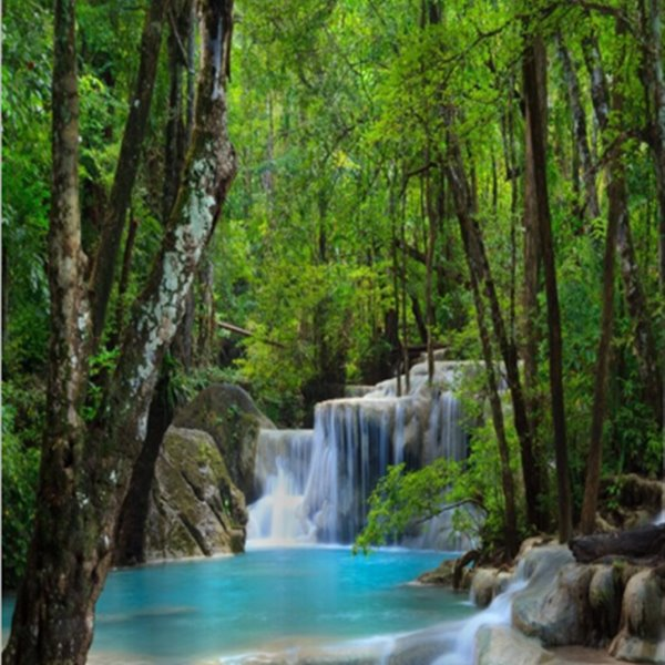 ... 3D Waterfall And Hidden Forests Printed Polyester Shower Curtain