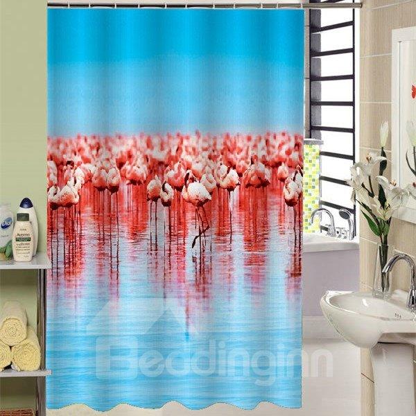 Creative Design Flamingos Print Bathroom Shower Curtain