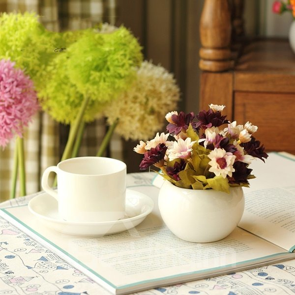 Lovely 4-Color Daisies in Porcelain Pot Desktop Decoration Flower Sets