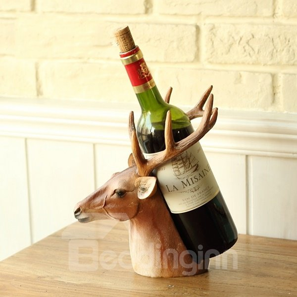 Decorative Wine Bottle Holders Mesmerizing Unique Decorative Deer Head Resin 1Bottle Wine Rack Bottle Holder Design Decoration