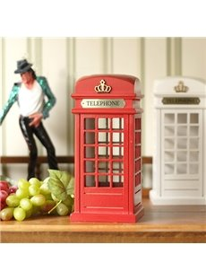 Classical Wooden Phone Booth Saving Box Desktop Decoration