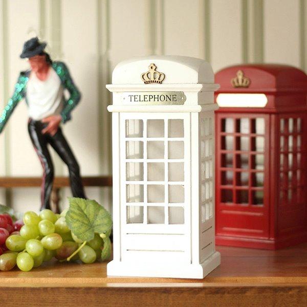 Classical Wooden Phone Booth Saving Box Desktop Decoration