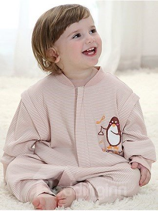 Cute Penguin Embroidered Cotton Baby Sleeping Bag
