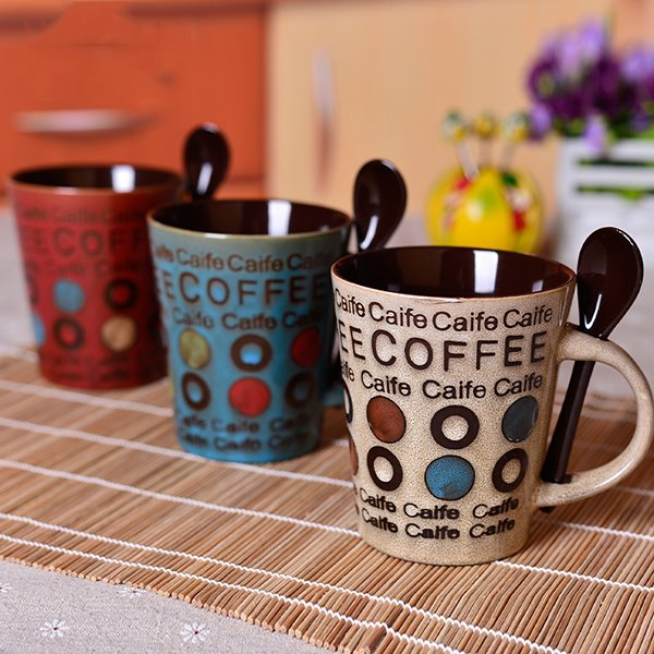Wonderful Letters and Dots Design 3-Color Coffee Mug