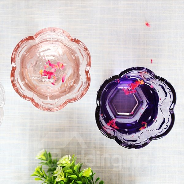 Gorgeous Petal Rimed Heart Embossed 3-Color Tea Cup Water Glass